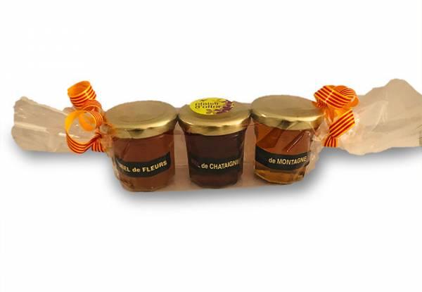 Coffret de 3 pots de miel de 50 grammes
